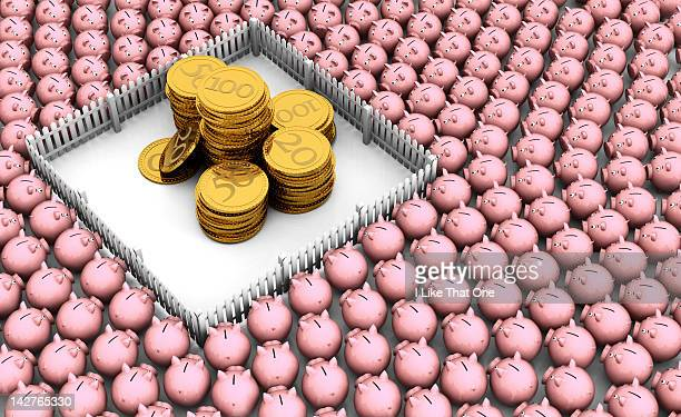 Gold coins protected from many piggy bank by fence