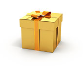 Gold color gift box isolated white background Clipping path