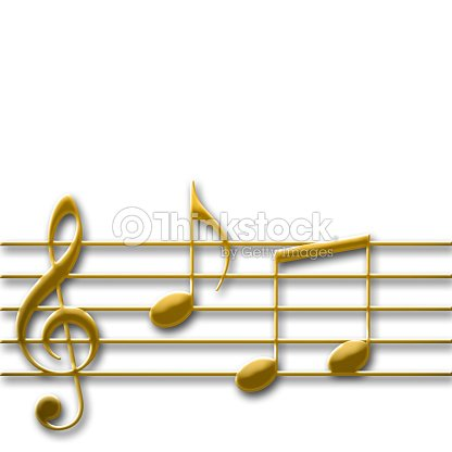 gold colored music gkey with some random music notes isolated