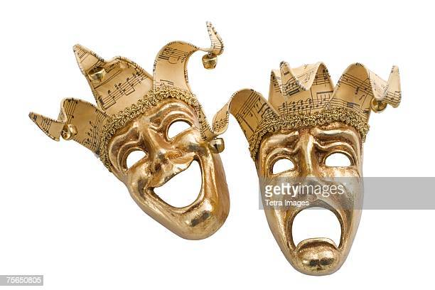 Gold comedy and tragedy masks