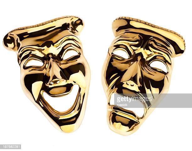 Or de théâtre comédie et tragédie dramatique des masques isolé sur blanc