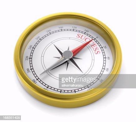 gold compass pointing to succes : Stockfoto