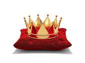 Gold crown on red velvet pillow isolated on white. 3D rendering