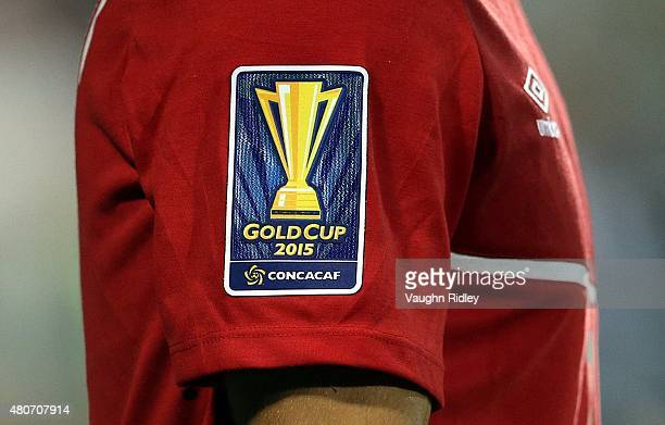 Gold Cup logo as seen on a Canada shirt during the 2015 CONCACAF Gold Cup Group B match between Canada and Costa Rica at BMO Field on July 14 2015 in...