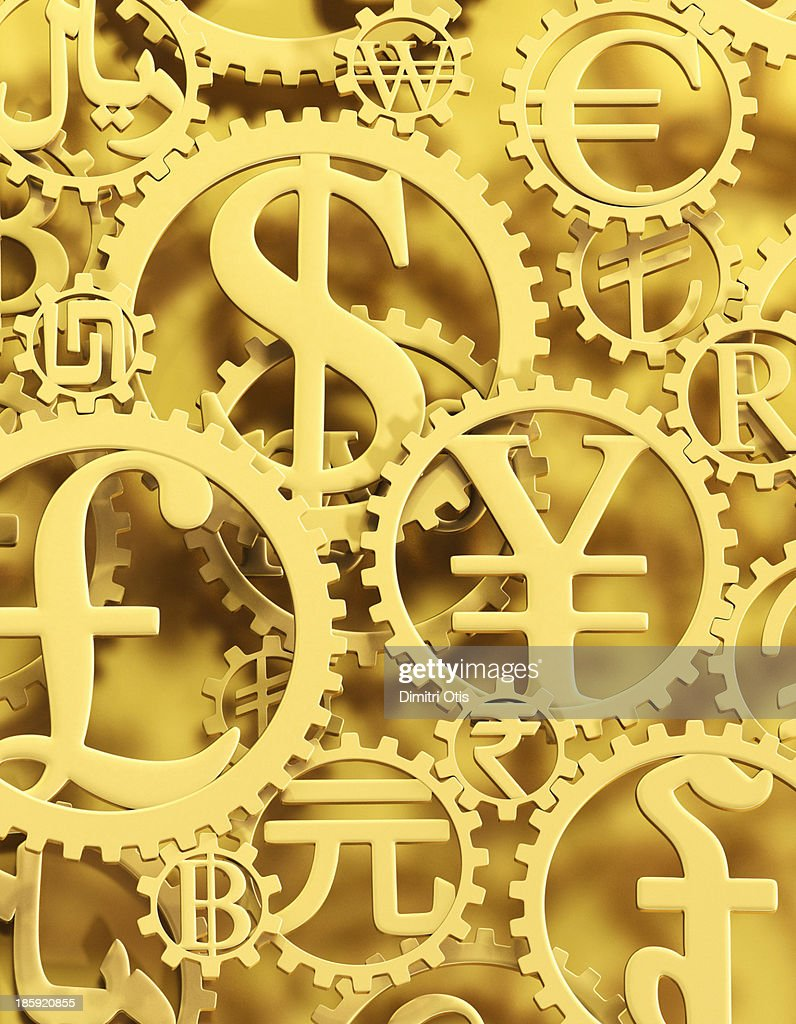 Gold currency symbol cogs vertical