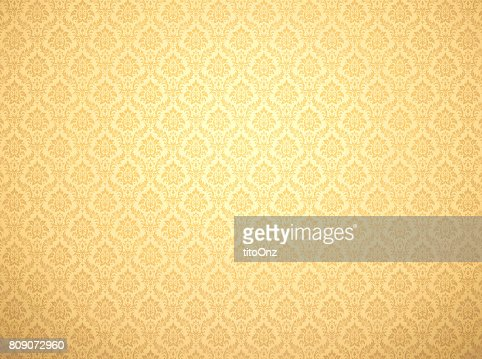 Gold damask pattern background : Stock Photo
