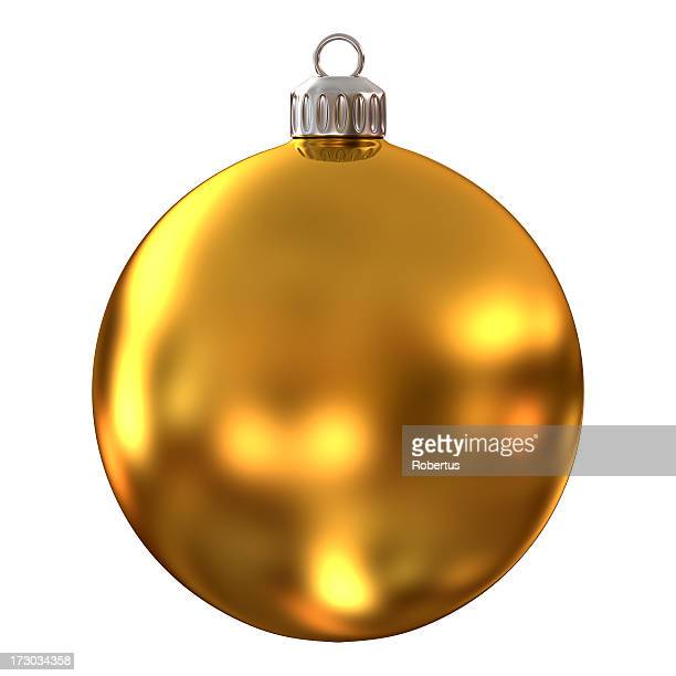 Gold, diffused Christmas ornament on a white background