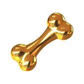 Gold dog bone  present for best pet 3d rendering