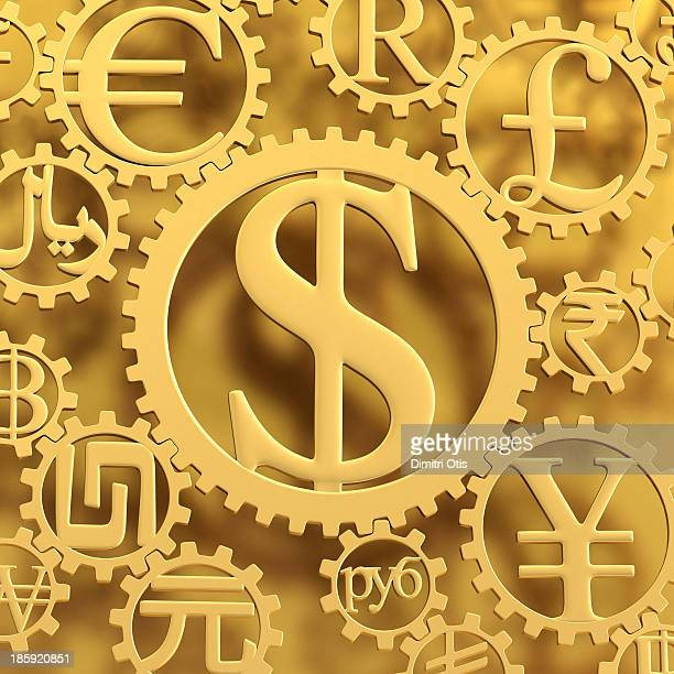 Gold Dollar currency symbol cog amongst others