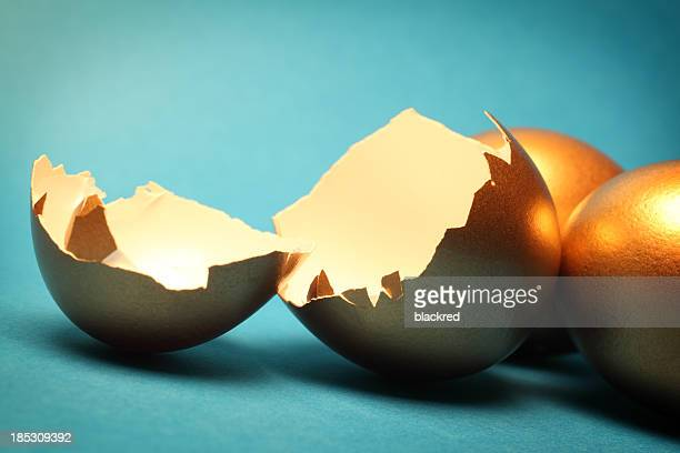 Gold Eggs and Shells on Plain Background