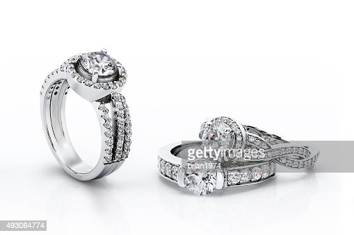 Gold Engagement Diamond Rings : Stock Photo