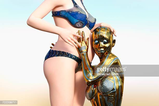 Gold female cyborg listening to belly of expectant mother