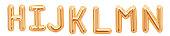 Gold foil alphabet, H, I, J, K, L, M, N isolated on white background. 3d rendering