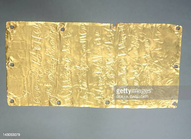 Gold foil embossed and engraved with inscription in the Punic language by Thefarie Velianas to the Phoenician Goddess Astarte unearthed from a votive...