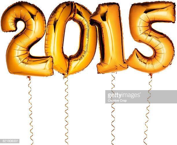 Gold Foil Party Helium Balloons 2015 arrangement