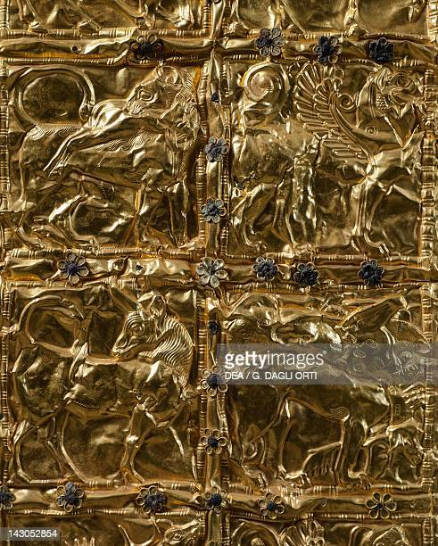 Gold foil with embossed decoration from Delphi Detail animals Goldsmith art Greek Civilization ca 6th Century BC Delphi Museum
