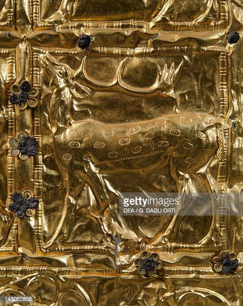 Gold foil with embossed decoration from Delphi Detail deer Goldsmith art Greek Civilization ca 6th Century BC Delphi Museum