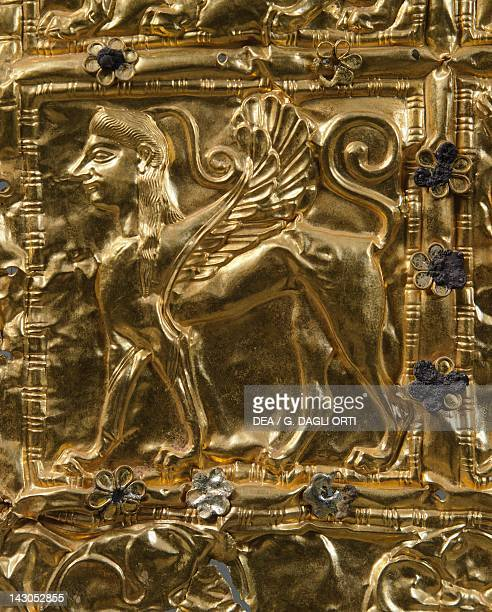 Gold foil with embossed decoration from Delphi Detail sphinx Goldsmith art Greek Civilization ca 6th Century BC Delphi Museum
