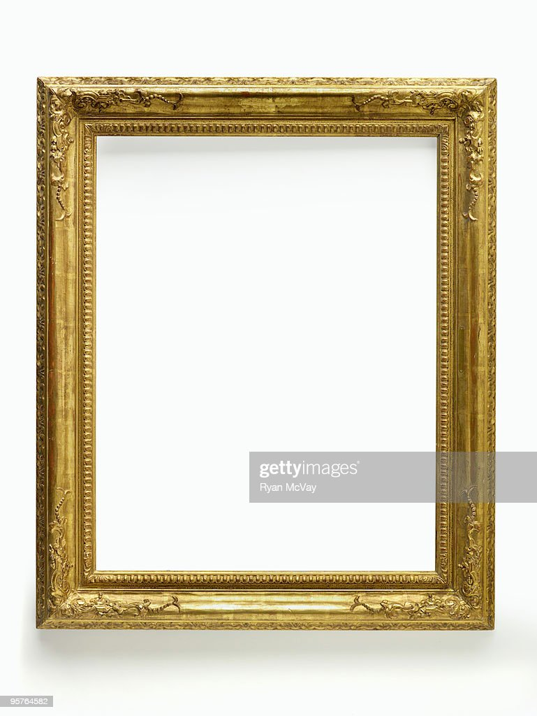 gold frame on white : Stock Photo
