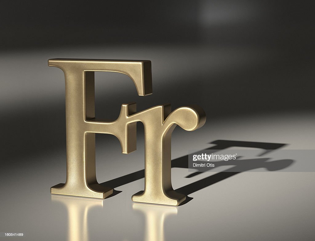 Gold Franc currency symbol : Stock Photo