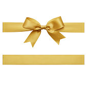 Gold color, Ribbon - Sewing Item, Tied Bow, Gift, Tied Knot, cut out
