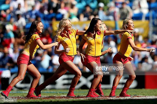 XXXX gold girls dance during day one of the 2012 Gold Coast Sevens at Skilled Park on October 13 2012 in Gold Coast Australia