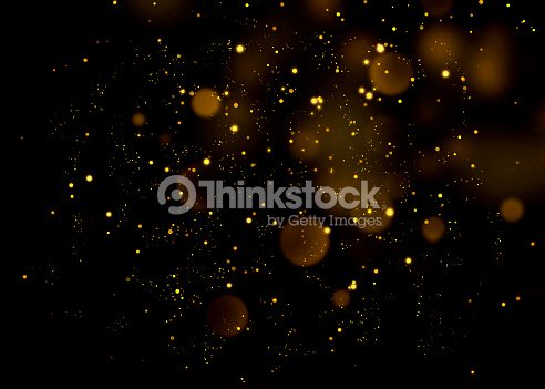 Gold glittering star light and bokeh.Magic dust abstract background element for your product. : Stock Photo