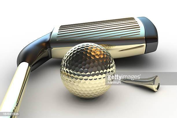 ゴールドのゴルフクラブ