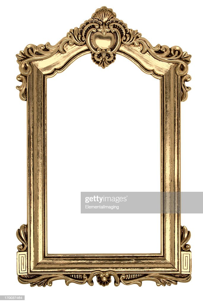 Gold Gothic Picture Frame. Isolated on White with Clipping Path