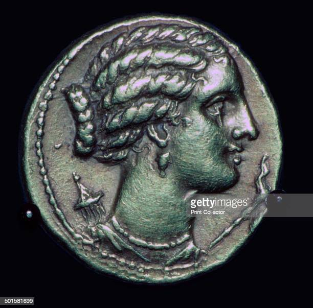 Gold halfstater of Pyrrhus of Epirus from whom the phrase 'a Phyrric victory is derived bearing the head of Artemis facing right 3rd century BC...