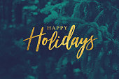 Gold Happy Holidays Script with Duotone Evergreen Branches Background