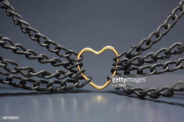 gold hart gathered chain