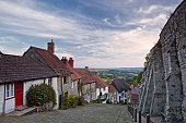 The famous cobble stoned street of Gold Hill in Shaftesbury, England, UK.