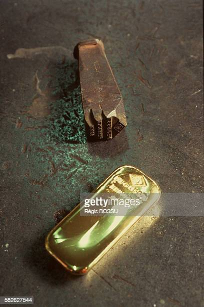 Gold ingot and the 'Degussa' stamp