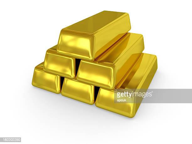 Gold ingots stacked in a pyramid