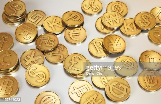 Gold international currency coins : Stock Photo