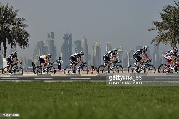 Gold Jersey Dutch Nikki Tepstra rides during the sixth and last stage of the 2015 Tour of Qatar between Sealine beach resort and Doha corniche on...