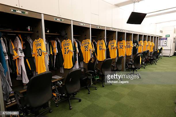 Gold jerseys hang ready for the players in the clubhouse of the Oakland Athletics prior to the game against the Texas Rangers at Oco Coliseum on...