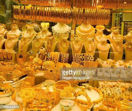 Gold jewellery for sale at Istanbul's Grand Bazaar : Stock Photo