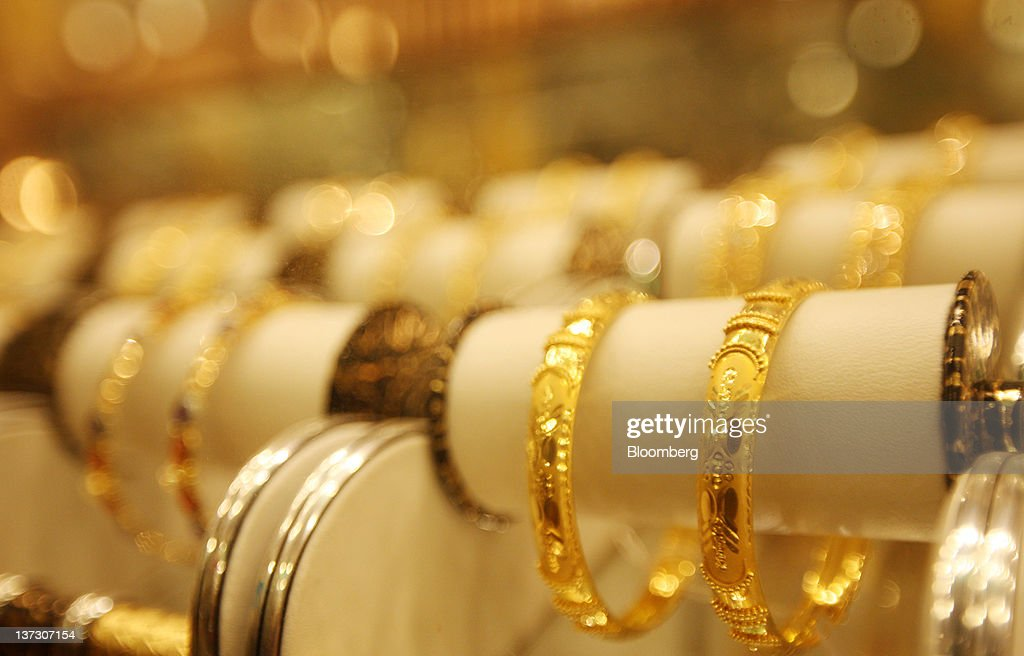Gold jewelry is displayed at a store in Chittagong, Bangladesh, on Saturday, Jan. 14, 2011. Bangladesh's central bank this month raised interest rates for the second time in four months to curb inflation that has exceeded 9 percent since the start of 2011. Photographer: Tomohiro Ohsumi/Bloomberg via Getty Images