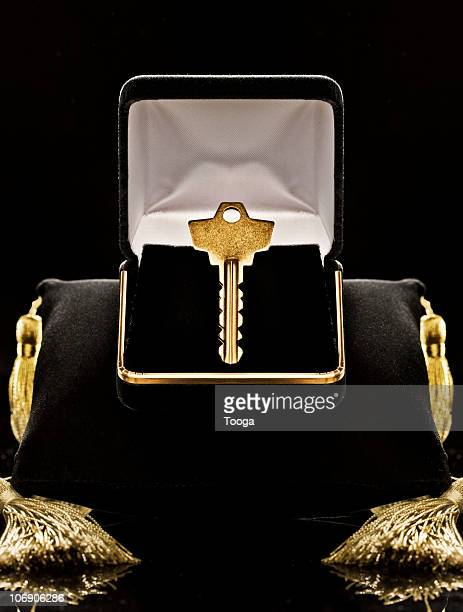 Gold key in black velvet jewel box