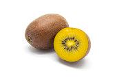 Gold kiwifruits on white isolated background