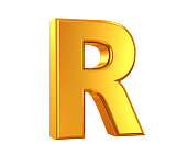 3D rendering of Letter R made of gold isolated on white background.