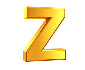 3D rendering of Letter Z made of gold isolated on white background.