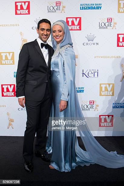 Gold Logie nominee Waleed Aly and his wife Susan Carland arrive at the 58th Annual Logie Awards at Crown Palladium on May 8 2016 in Melbourne...