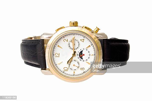 gold man watch with calendar on a leather belt