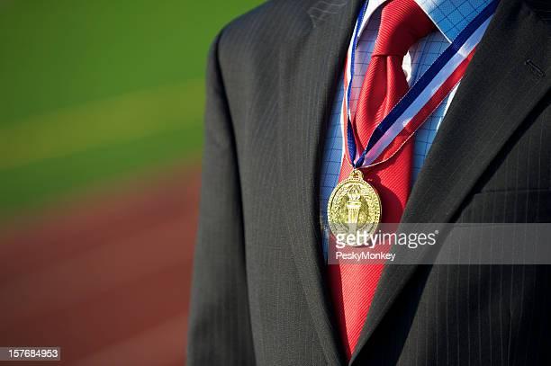 Goldmedaille Geschäftsmann Sports Track Hintergrund