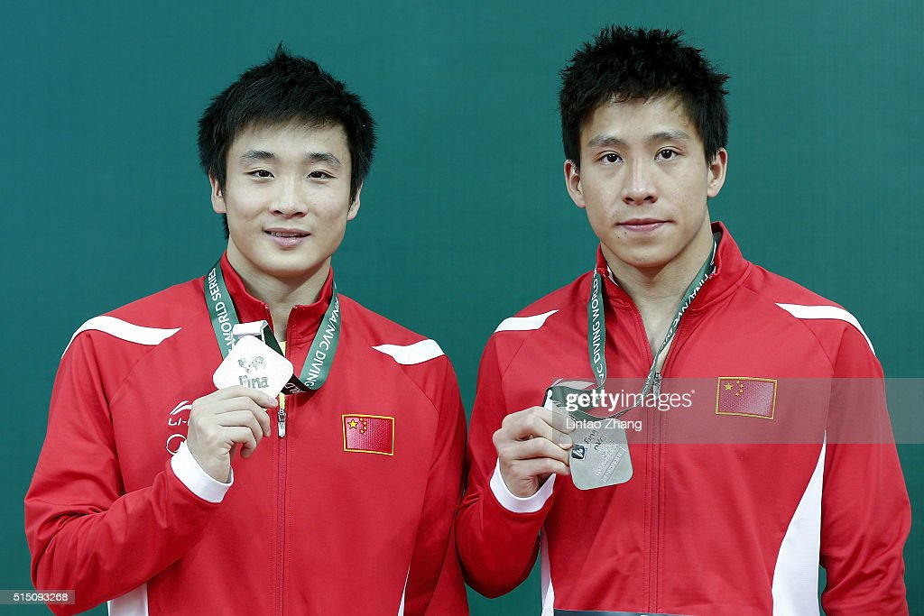 Gold medal Cao Yuan and silver medal He Chao of China celebrates after the Men's 3m Springboard Final during day two of the FINA/NVC Diving World...