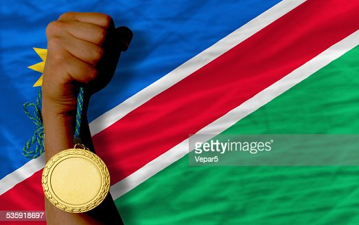 Gold medal for sport and national flag of namibia : Stock Photo