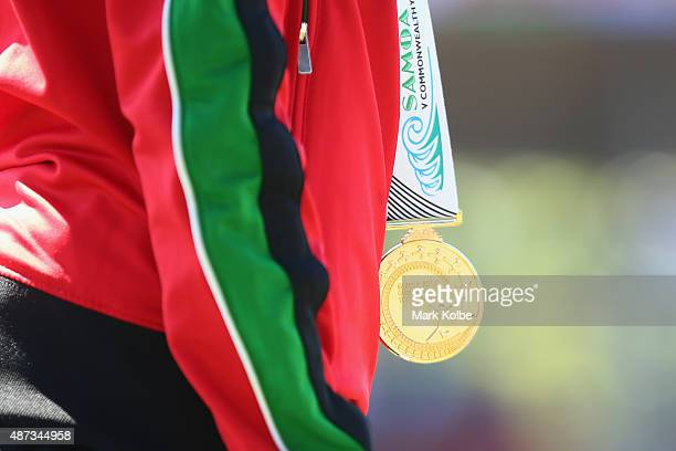 A gold medal is seen during amedal ceremony during the athletics competition at the Apia Park Sports Complex on day three of the Samoa 2015...